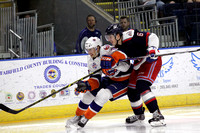 Bridgeport Sound Tigers players .vs. Hartford Wolf Pack. Apr. 19, 2015